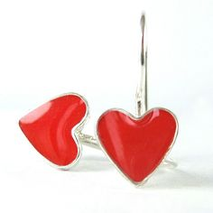 Silver Heart Earrings  Tiny Red dangle earrings by SigalitAlcalai, $30.00 [Valentine's Day gift idea]
