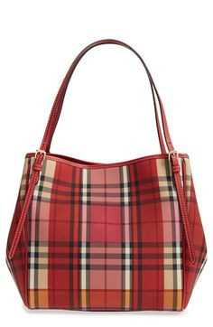 Free shipping and returns on Burberry 'Small Canter' Horseferry Check & Leather Tote at Nordstrom.com. A Burberry knight is subtly embossed over the iconic checks of this sized-down tote that's the perfect size for carrying by hand or for over-the-shoulder wear. A deep interior easily accommodates tech, books, weekend gear or the day's essentials. This refined, everyday style is finished with adjustable equestrian-inspired straps, gilt hardware and hand-painted edges.