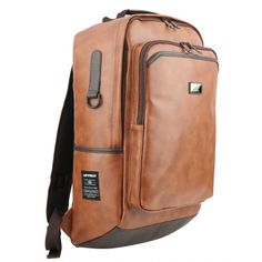 Tan Brown Faux Leather Casual Backpacks