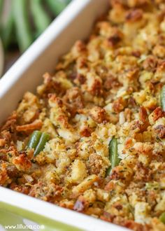 Chicken and Green Bean Casserole - a delicious casserole filled with green beans, chicken, cream cheese, and chicken broth, topped with stuffing mix! A staple at holiday gatherings! Chicken Stuffing Casserole, Veggie Casserole, Greenbean Casserole Recipe, Easy Casserole Recipes, Stuffing Recipes, Casserole Dishes, Stuffing Mix, Oven Green Beans, Chicken Green Beans