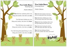 5 Little Bears Counting Rhymes | Free EYFS / KS1 Resources for Teachers