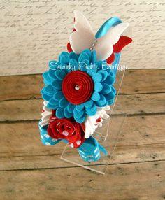 Turquesa Rojo y blanco de lana Fieltro Flores en SwankyPickleBoutique Por