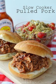 Slow Cooker Pulled Pork from KatiesCucina.com