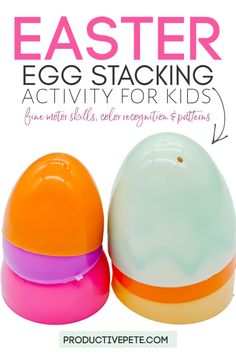 This is an Easter Egg Stacking Activity for Preschoolers, Toddlers, and Elementary students too. It works as a fun STEM challenge for older kids. It's an easy activity for kids that teaches colors, patterns and counting. Also, it helps with increasing fine motor skills. Keep kids busy with this no-prep, no-mess learning at-home activity. #toddlers #preschool #preschoolactivity