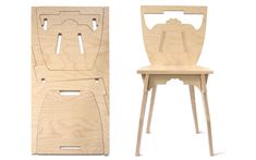 One chair, flat pack made from one piece of wood! Studio Lo: Flat Pack Fun from France Folding Furniture, Furniture Plans, Diy Furniture, Modern Furniture, Furniture Design, Handmade Furniture, Folding Chair, Diy Design, Wood Design