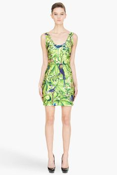 WE ARE HANDSOME green jungle-print stretch Dress