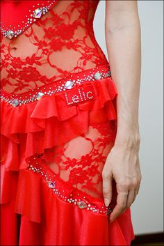 Latin ballroom competition red dance dress, Very unusual, such pretty details and handmade!