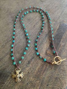 Turquoise Crochet Heart Cross Necklace Boho Chic