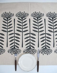 This linen table runner is screenprinted with my Tall Pincushion design, which started out as a papercut of a Pincushion protea. Textiles, Textile Prints, Silk Screen Printing, Printing On Fabric, Stamp Carving, Fabric Stamping, Deco Design, Tampons, Fabric Painting