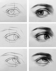 Charcoal Drawing Tips Eye drawing steps Realistic Eye Drawing, Body Drawing, Painting & Drawing, Drawing An Eye, How To Draw Realistic, Side Face Drawing, Human Drawing, Life Drawing, Figure Drawing