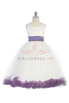 Satin & Tulle Flower Girl Dress with Purple Petals & Sash G2570-PP $39.95 on www.GirlsDressLine.Com