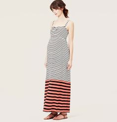 Petite LOFT Beach Mixed Stripe Strapless Maxi Dress | Loft