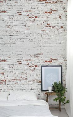 This white Warehouse Brick Wallpaper, is a cool textured brick mural that will effortlessly create an urban chic vibe. Exposed brick style that is very on trend. Brick Wallpaper Bedroom, Brick Effect Wallpaper, Wall Murals Bedroom, Geometric Wallpaper, Painted Brick Walls, White Brick Walls, Watercolor Wallpaper, Pink Wallpaper, Wallpaper Ideas
