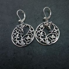 Hummingbird bird Earrings ivy leaf Silver 14k gold realistic jewelry Handmade USA – All Animal Jewelry & Jan David Design Jewelers