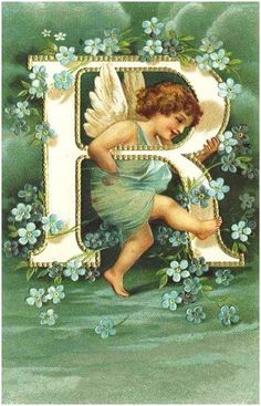 Victorian style letter with an angel