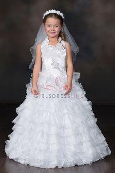 White+Taffeta+and+Organza+Halter+Communion+Dress+CNC85-WH+CNC85-WH+$110.95+on+www.GirlsDressLine.Com