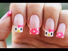 Decoración de uñas Hello Kitty - Hello Kitty nail art - YouTube