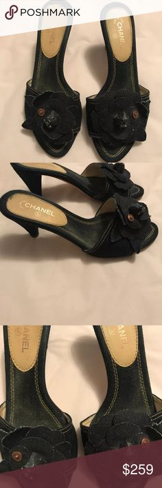 Chanel Camillia Flower Denim Shoes size 36.5 Beautiful classic Chanel Camilla flower shoes Low heels; open toe; denim flower on the front Size 36.5 fits true to size  Made in Italy  No box; slight discoloration on the insoles; scuffs on the bottoms CHANEL Shoes Heels