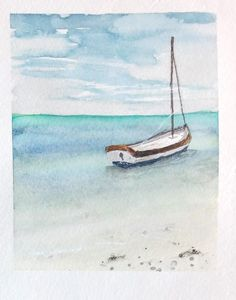 boat and paradise beach of Mauritius in watercolor painting Watercolor Projects, Watercolor Drawing, Watercolor Cards, Floral Painted Furniture, Sailboat Painting, Seascape Paintings, Pastel Art, Ocean Art, Poster