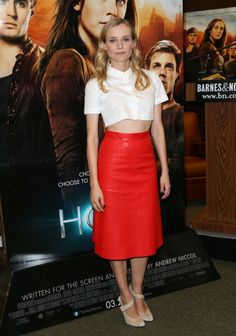 Celebrity Fashion: Diane Kruger wearing a white short sleeved cropped top by  Carven  and a red leather skirt by Vanessa Bruno at 'The Host' Barnes & Noble Bookstore Signing
