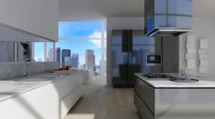 Skyscraper kitchen, virtual image, rendered with DomuS3D and mental ray