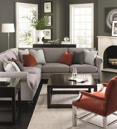 Use this sectional sofa to seat guests in class. This piece was designed to complement traditional styles while remaining timeless. Although it incorporates classic elements like rolled arms and wood feet, the overall aesthetic is up-to-date. This piece can seat up to five guests, easily fits in corners and against walls and is complete with nail heads and welt cord trim.