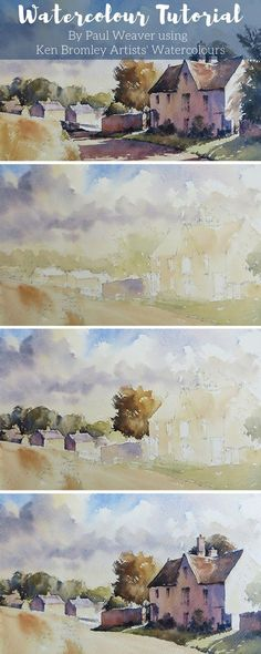 Paul Weaver paints, Village of Windrush atutorial scriluco Cotswold village, nestling in the stunning landscape of the Windrush valley. #watercolour #watercolourtutorial