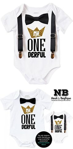 Noah's Boytique Mr Onederful First Birthday Shirt Outfit Boy With Black Bow Tie Suspenders and Gold and Black Saying Cake Smash 1st Birthday Party 12-18 Months