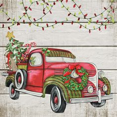 Trademark Global Jean Plout 'Vintage Christmas Truck Canvas Art - 35 x 35 x 2 Christmas Red Truck, Diy Christmas Tree, Outdoor Christmas, Christmas Wreaths, Christmas Ornaments, Christmas Artwork, Christmas Labels, Christmas Paintings, Christmas Scenes
