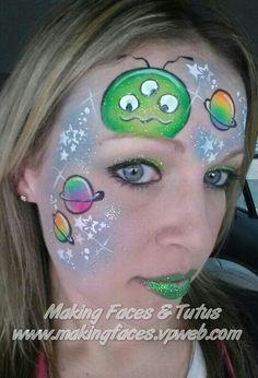 Alien (UV paint) face painting (inspired by Lisa Joy Young) Cameron Garrett, Making Faces & Tutus www.makingfaces.vpweb.com