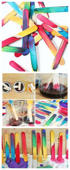 Dip Dyed Craft Sticks | BABBLE DABBLE DO | Learn about color mixing and absorption in this super easy scientific art project!