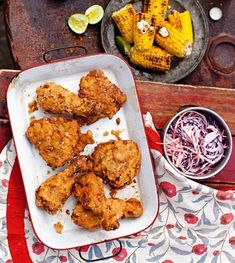 Southern-fried chicken with lime and chilli corn recipe Corn Recipes, Fruit Recipes, Chicken Recipes, Cooking Recipes, Marinated Chicken, Tandoori Chicken, Chicken Plating, Chili, Buttermilk Fried Chicken