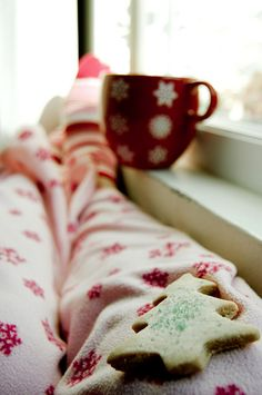 Christmas Jammies, Hot Chocolate and a Cookie! Perfect.