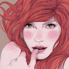 illustration by Mercedes deBellard, via Behance Art And Illustration, Creative Illustration, Portrait Illustration, Art Pop, Art Pictures, Art Images, Portraits Illustrés, Redhead Art, Arte Sketchbook