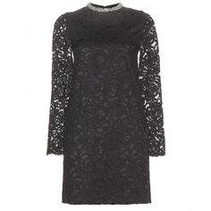 Saint Laurent - Embellished lace dress - Saint Laurent plays up its love for the whimsical with this lace dress. The black dress has an embellished high neck and sheer sleeves to finish. Try with red lipstick for a glamorous finish. seen @ www.mytheresa.com