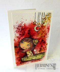 Brusho and stamps...card made by Hermine Koster