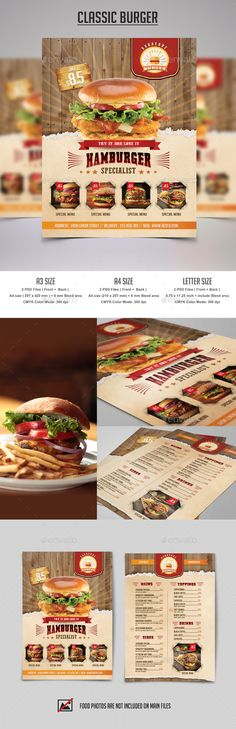 Classic Burger Flyer Template PSD. Download here: https://graphicriver.net/item/classic-burger-flyer/17564009?ref=ksioks