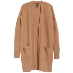 Women's Halogen Ribbed Cashmere Cardigan ($199) ❤ liked on Polyvore featuring tops, cardigans, petite cashmere cardigan, long line cardigan, beige cardigan, ribbed cardigan and long length cardigan