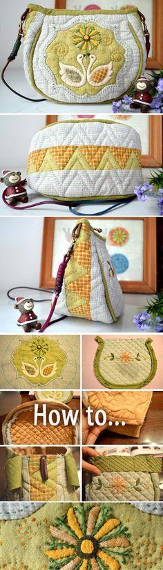 Patchwork & Quilted Bag Tutorial. Photo Sewing Tutorial. Step by step DIY.  http://www.handmadiya.com/2016/02/patchwork-quilted-bag-tutorial.html