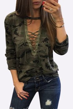 Basic and sexy, this casual top is perfect for go out. With camouflage pattern and long sleeve, this top features crossed front details and V neck design that gives it a street style, edgy look. Wear it with jeans would be great!