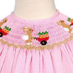 Viva La Fete Girls Pink Gingham Easter Spring Smock Dress 3M-6X