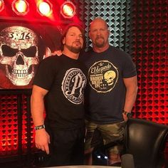 Phenomenal AJ Styles and Stone Cold Steve Austin after the Stone Cold Podcast on the WWE Network Austin Wwe, Steve Austin, Stone Cold Stunner, Aj Styles Wwe, Mick Foley, Catch, Men's Wrestling, Stone Cold Steve, Wwe Wallpapers