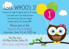 owl 1st, 2nd, 3rd, 4th birthday invation