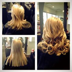 Hair extensions before and after done by Amanda at Simply Pure Salon and Spa