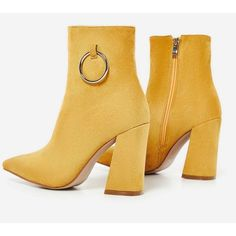 Ruben Pull Ring Detail Ankle Boot In Mustard Faux Suede ($56) ❤ liked on Polyvore featuring shoes, boots, ankle booties, mustard yellow booties, short boots, ankle bootie boots, faux suede booties and ankle boots