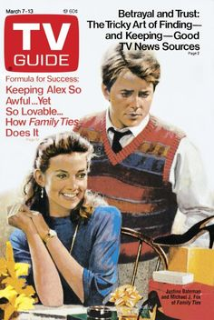 TV Guide March 7, 1987 - Justine Bateman and Michael J. Fox of Family Ties. Illustration by ?