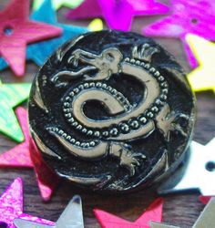 Vintage Button Black Glass Button with Silver Lustre Dragon Pictorial Button Black Glass Fantastic Creature