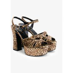 Saint Laurent Candy 80 Leopard Print Velvet Sandals (£510) ❤ liked on Polyvore featuring shoes, sandals, ankle tie sandals, yves saint laurent shoes, ankle strap sandals, brown high heel shoes and ankle strap high heel sandals