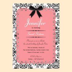 Pink Lace and Black & White Damask Sweet 16 5x7 Custom Invitation