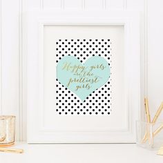Happy girls are the prettiest girls. This print had black and white polka dots on a mint heart. Perfect for a teen room, especially one with mint color accents! This listing is for a high resolution p